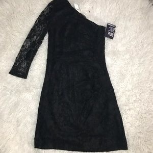NWT Express Black lace one sleeve dress